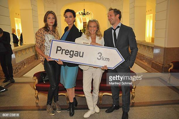 Patricia Aulitzky Ursula Strauss Kathrin Zechner and Maximilian Brueckner pose during the 'Pregau Kein Weg Zurueck' Vienna presentation at Albert...