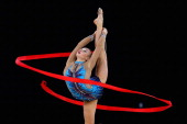 Patricia Bezzoubenko of Canada competes in the Gymnastics Rythmic Ribbon Final at SECC Precinct during day three of the Glasgow 2014 Commonwealth...