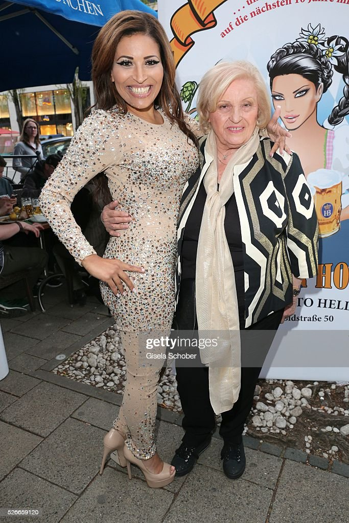 Patricia Blanco and her mother Mireille Blanco, former wife of Roberto Blanco during the 11th anniversary 'Highway to Helles' of 'Bachmaier Hofbraeu' in Munich on April 30, 2016 in Munich, Germany.