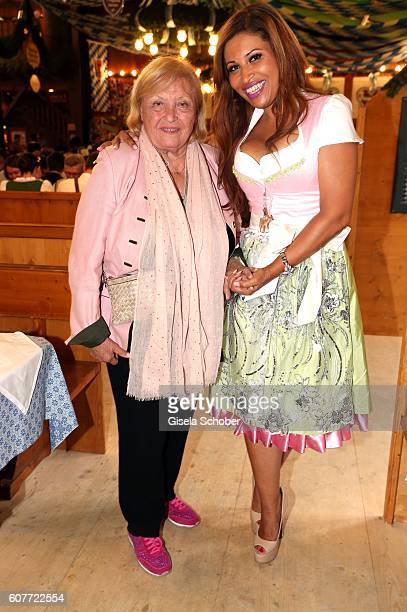 Patricia Blanco and her mother Mireille Blano pose during the Oktoberfest at AugustinerBraeu at Theresienwiese on September 19 2016 in Munich Germany