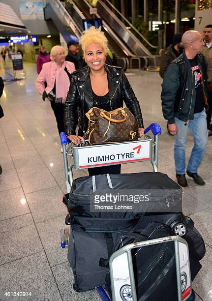 Patricia Blanco arrives before the flight to Australia as a participant in the 2015 RTLTVShow 'Dschungelcamp Ich bin ein Star Holt mich hier raus' at...