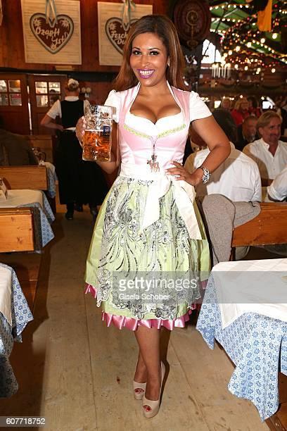 Patricia Blanco wearing a dirndl by Elbdirndl during the Oktoberfest at AugustinerBraeu /Theresienwiese on September 19 2016 in Munich Germany