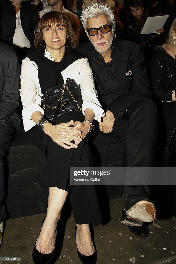 Patricia Carta and Fernando Lousa attends the Ellus show during Sao Paulo Fashion Week Summer 2013/2014 on March 19, 2013 in Sao Paulo, Brazil.