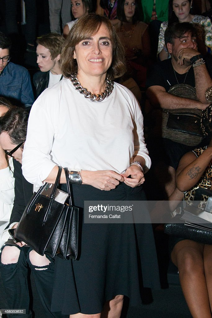 Patricia Carta attends the Victor Dzenk fashion show during Sao Paulo Fashion Week Winter 2015 at Parque Candido Portinari on November 3 2014 in Sao...