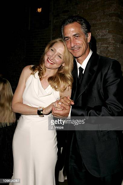 Patricia Clarkson and David Strathairn during 2005 Venice Film Festival 'Good Night and Good Luck' Party at Il Granaio in Venice Italy