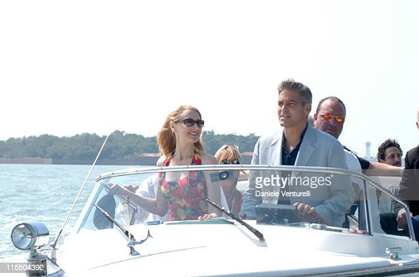 Patricia Clarkson and George Clooney during 2005 Venice Film Festival George Clooney Sighting in Venice Lido Italy