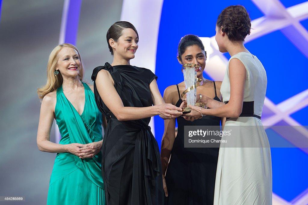 Patricia Clarkson, Golsshifteh Farhani and Marion Cotillard award Alica Vikander best actress during the Award Ceremony of the 13th Marrakech International Film Festival on December 7, 2013 in Marrakech, Morocco.