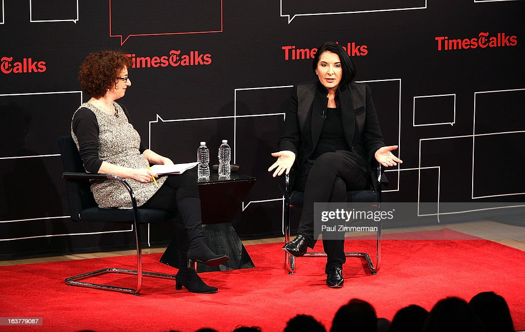 Patricia Cohen and <a gi-track='captionPersonalityLinkClicked' href=/galleries/search?phrase=Marina+Abramovic&family=editorial&specificpeople=2315598 ng-click='$event.stopPropagation()'>Marina Abramovic</a> attend TimesTalks: <a gi-track='captionPersonalityLinkClicked' href=/galleries/search?phrase=Marina+Abramovic&family=editorial&specificpeople=2315598 ng-click='$event.stopPropagation()'>Marina Abramovic</a> at TheTimesCenter on March 15, 2013 in New York City.