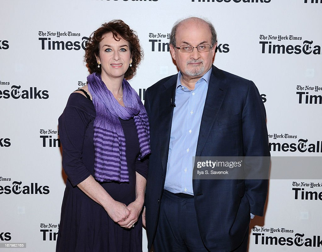 Patricia Cohen and <a gi-track='captionPersonalityLinkClicked' href=/galleries/search?phrase=Salman+Rushdie&family=editorial&specificpeople=203293 ng-click='$event.stopPropagation()'>Salman Rushdie</a> attend TimeTalks Presents: Freedom and Moral Courage <a gi-track='captionPersonalityLinkClicked' href=/galleries/search?phrase=Salman+Rushdie&family=editorial&specificpeople=203293 ng-click='$event.stopPropagation()'>Salman Rushdie</a> and Ai Wei Wei at Times Center on May 3, 2013 in New York City.