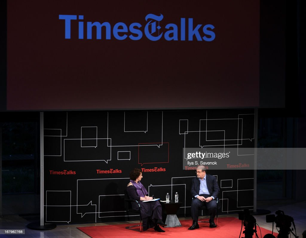 Patricia Cohen and <a gi-track='captionPersonalityLinkClicked' href=/galleries/search?phrase=Salman+Rushdie&family=editorial&specificpeople=203293 ng-click='$event.stopPropagation()'>Salman Rushdie</a> speak during TimeTalks Presents: Freedom and Moral Courage <a gi-track='captionPersonalityLinkClicked' href=/galleries/search?phrase=Salman+Rushdie&family=editorial&specificpeople=203293 ng-click='$event.stopPropagation()'>Salman Rushdie</a> and Ai Wei Wei at Times Center on May 3, 2013 in New York City.
