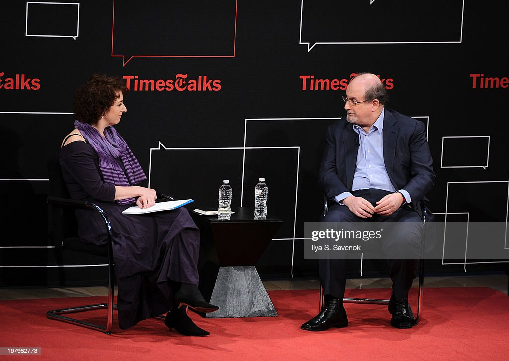 Patricia Cohen and Salman Rushdie speak during TimeTalks Presents: Freedom and Moral Courage Salman Rushdie and Ai Wei Wei at Times Center on May 3, 2013 in New York City.