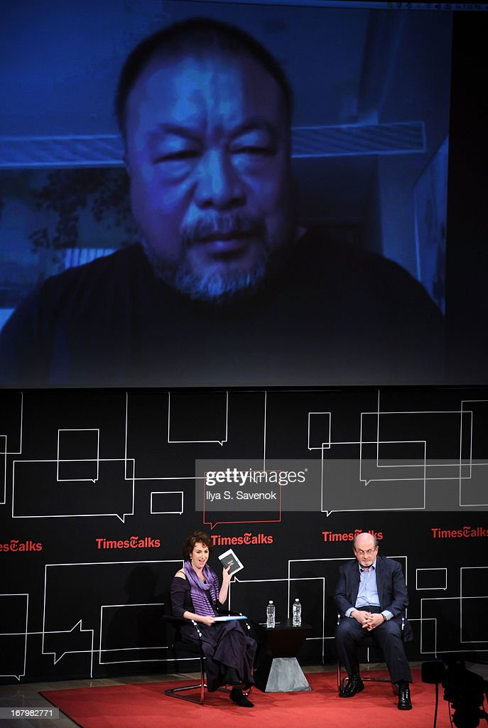 Patricia Cohen and <a gi-track='captionPersonalityLinkClicked' href=/galleries/search?phrase=Salman+Rushdie&family=editorial&specificpeople=203293 ng-click='$event.stopPropagation()'>Salman Rushdie</a> speak to artist Ai Wei Wei via Skype during TimeTalks Presents: Freedom and Moral Courage <a gi-track='captionPersonalityLinkClicked' href=/galleries/search?phrase=Salman+Rushdie&family=editorial&specificpeople=203293 ng-click='$event.stopPropagation()'>Salman Rushdie</a> and Ai Wei Wei at Times Center on May 3, 2013 in New York City.