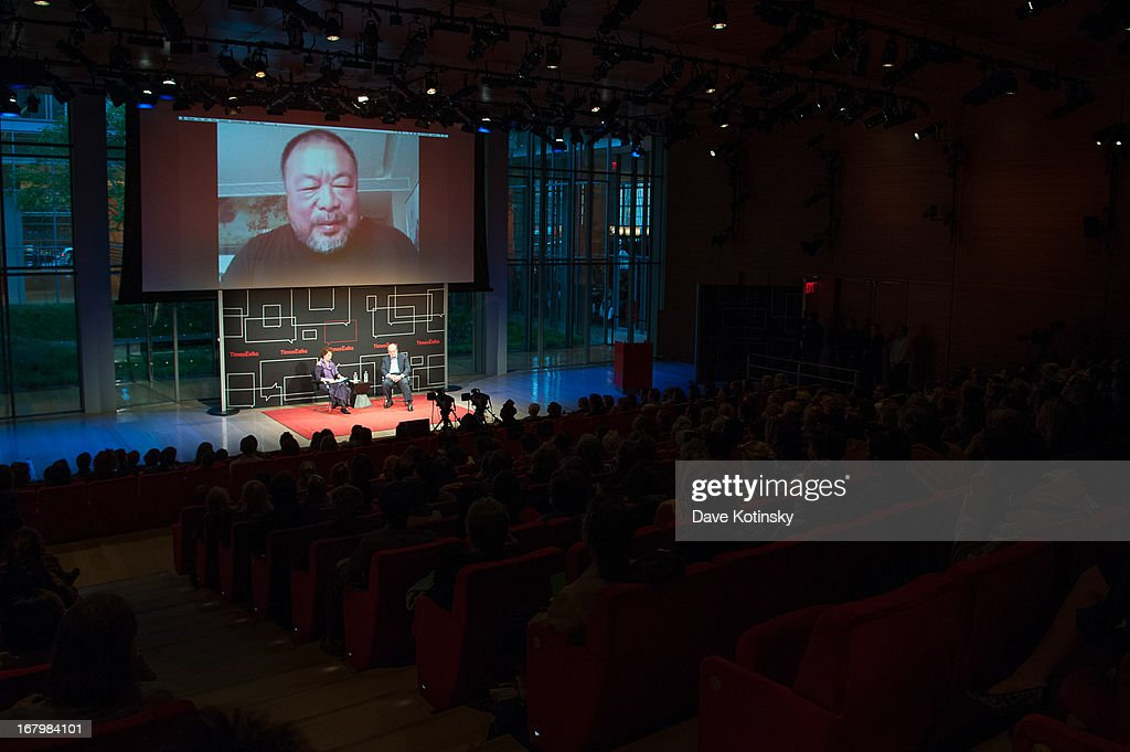 Patricia Cohen and Salman Rushdie with Ai Weiwei via Skype attend TimeTalks Presents: Freedom and Moral Courage Salman Rushdie and Ai Wei Wei at Times Center on May 3, 2013 in New York City.