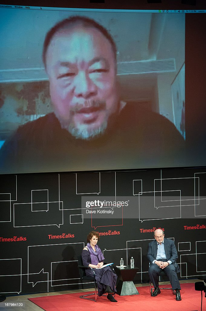 Patricia Cohen and <a gi-track='captionPersonalityLinkClicked' href=/galleries/search?phrase=Salman+Rushdie&family=editorial&specificpeople=203293 ng-click='$event.stopPropagation()'>Salman Rushdie</a> with Ai Weiwei via Skype attend TimeTalks Presents: Freedom and Moral Courage <a gi-track='captionPersonalityLinkClicked' href=/galleries/search?phrase=Salman+Rushdie&family=editorial&specificpeople=203293 ng-click='$event.stopPropagation()'>Salman Rushdie</a> and Ai Wei Wei at Times Center on May 3, 2013 in New York City.