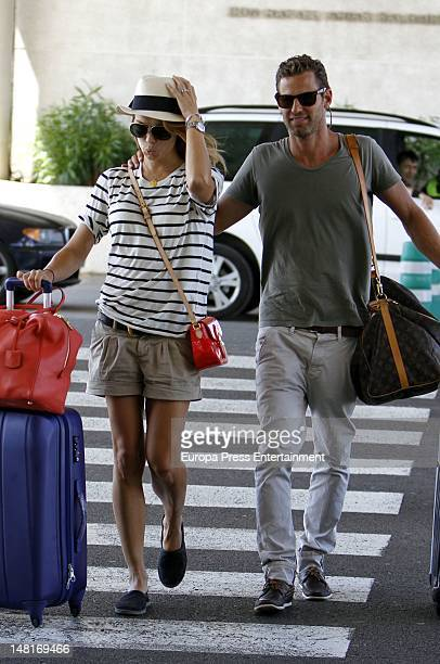 Patricia Conde and her husband Carlos Segui sighting at Palma de Mallorca airport before starting their honeymoon on July 2 2012 in Mallorca Spain