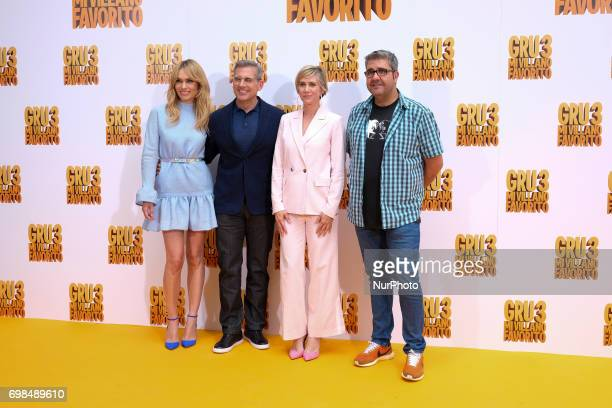Patricia Conde Steve Carell Kristen Wiig and Florentino Fernandez attend 'Despicable Me 3' photocall at Santo Mauro Hotel on June 20 2017 in Madrid...