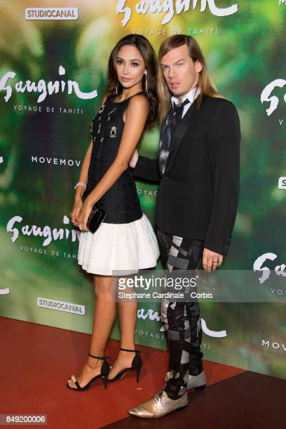 Patricia Contreras and Fashion designer Christophe Guillarme attend the 'Gauguin Voyage De Tahiti' Paris Premiere at Cinema Gaumont Capucine on...