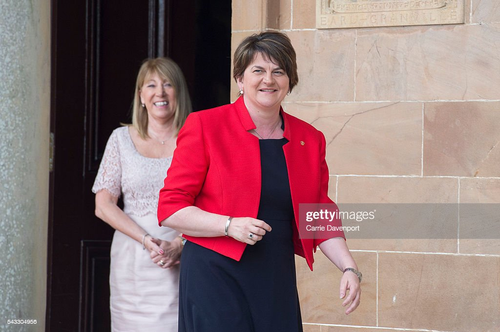 Patricia Corbett of Historic royal Palaces bids farewell to First Minister for Northern Ireland <a gi-track='captionPersonalityLinkClicked' href=/galleries/search?phrase=Arlene+Foster&family=editorial&specificpeople=2483042 ng-click='$event.stopPropagation()'>Arlene Foster</a> after her meeting with Queen Elizabeth II and Prince Philip, Duke of Edinburgh at Hillsborough Castle on June 27, 2016 in Belfast, Northern Ireland.