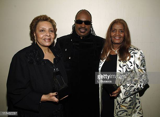 Patricia Cosby Stevie Wonder and Sylvia Moy during 37th Annual Songwriters Hall of Fame Ceremony VIP Cocktail Reception and Backstage at Marriott...