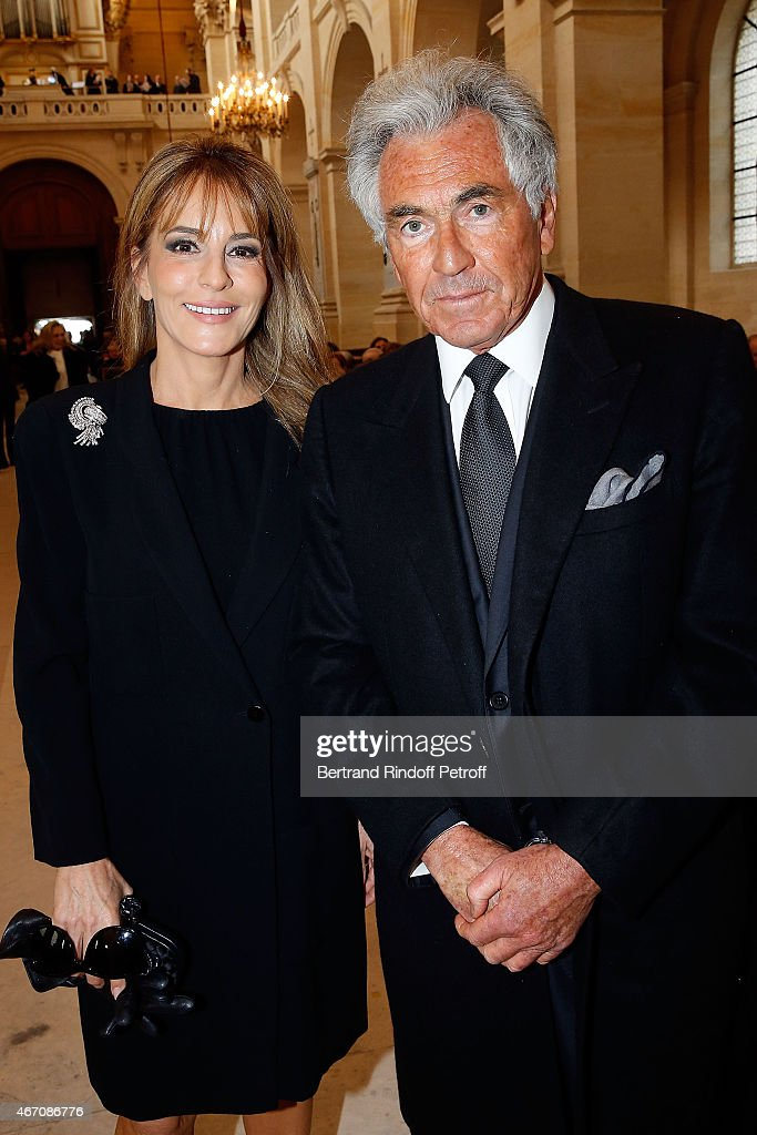 Patricia d'Arenberg and Jean-Paul Enthoven attend the mass given in memory of the 100 year anniversary of Prince Ernest Charles D'Arenberg's death in the First World War at Les Invalides on March 20, 2015 in Paris, France.