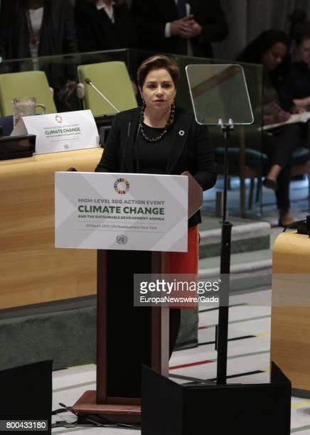 Patricia Espinosa Executive Secretary of the United Nations Framework Convention on Climate Change addresses a highlevel meeting of the General...