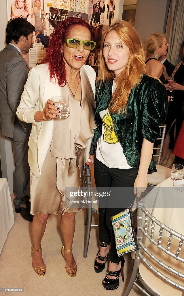Patricia Field (L) and Josephine de la Baume attend the 12th birthday of New York jewellery house Fararone Mennella, with guest of honour Patricia Field, at their Knightsbridge store on June 13, 2013 in London, England.