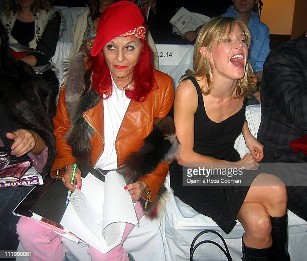 Patricia Field and Julie Bowen during MercedesBenz Fashion Week Fall 2003 Collections Chaiken Front Row at Bryant Park in New York City New York...