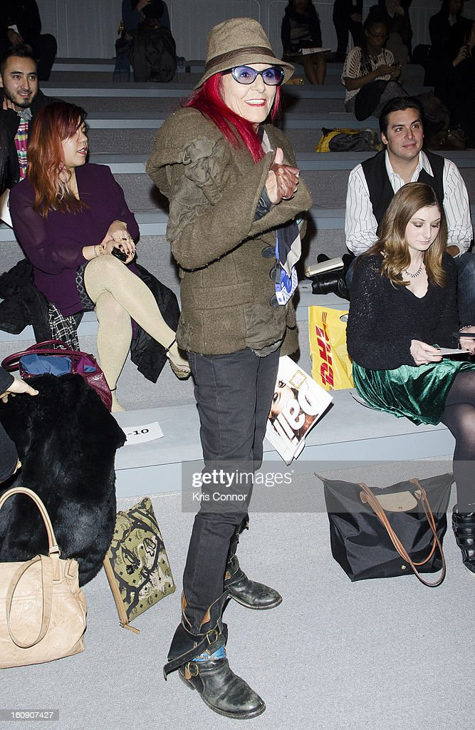 Patricia Field attends the Concept Korea Fall 2013 Mercedes-Benz Fashion Show at The Stage at Lincoln Center on February 7, 2013 in New York City.