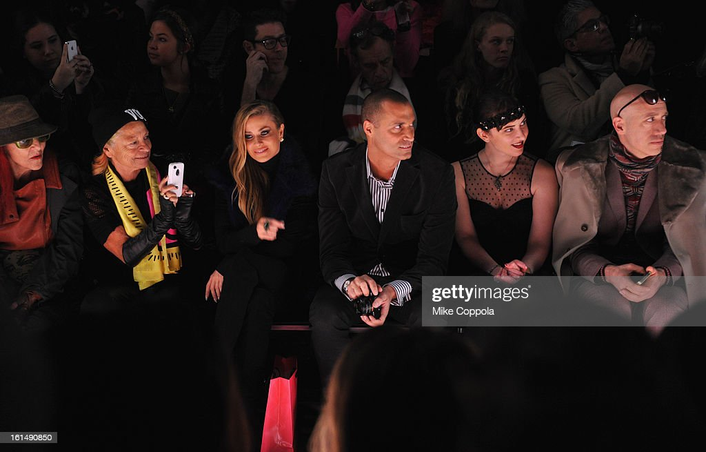 Patricia Field, Carmen Electra, Nigel Barker, and Robert Verdi attend the Betsey Johnson Fall 2013 fashion show during Mercedes-Benz Fashion Week at The Studio at Lincoln Center on February 11, 2013 in New York City.