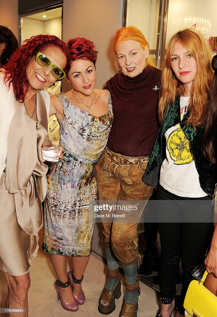 Patricia Field, Jaime Winstone, Dame Vivienne Westwood and Josephine de la Baume attend the 12th birthday of New York jewellery house Fararone Mennella, with guest of honour Patricia Field, at their Knightsbridge store on June 13, 2013 in London, England.