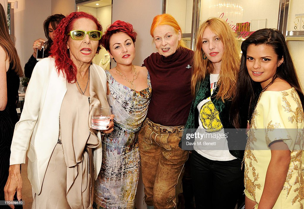 Patricia Field, Jaime Winstone, Dame Vivienne Westwood, Josephine de la Baume and Bip Ling attend the 12th birthday of New York jewellery house Fararone Mennella, with guest of honour Patricia Field, at their Knightsbridge store on June 13, 2013 in London, England.