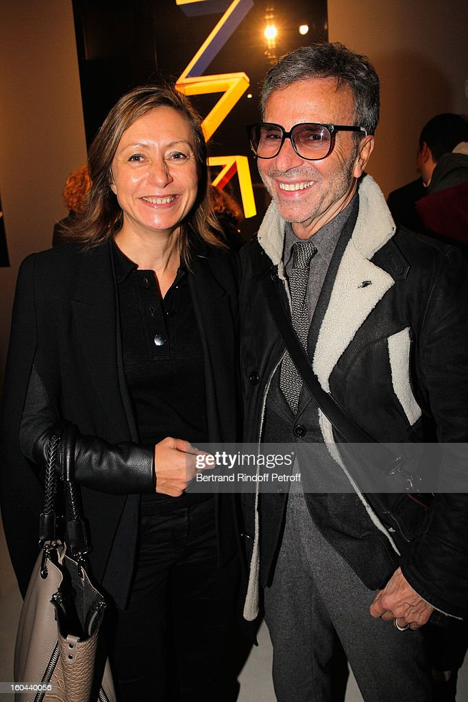 Patricia Grosdemange and Olivier Echaudemaison attend the Karl Lagerfeld Photo Exhibition Preview at the Showroom Cassina on January 31, 2013 in Paris, France.