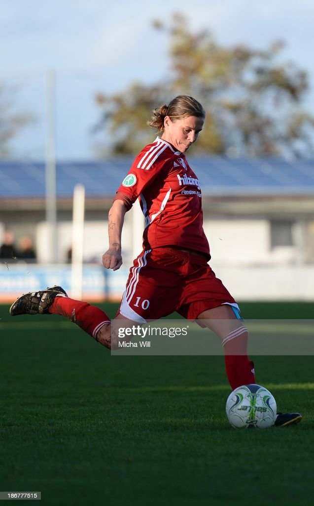 Patricia Hanebeck of Willstaett-Sand kicks the ball during the Second Bundesliga match between ETSV Wuerzburg and SC Sand at Sportpark Herieden on November 3, 2013 in Wuerzburg, Germany.