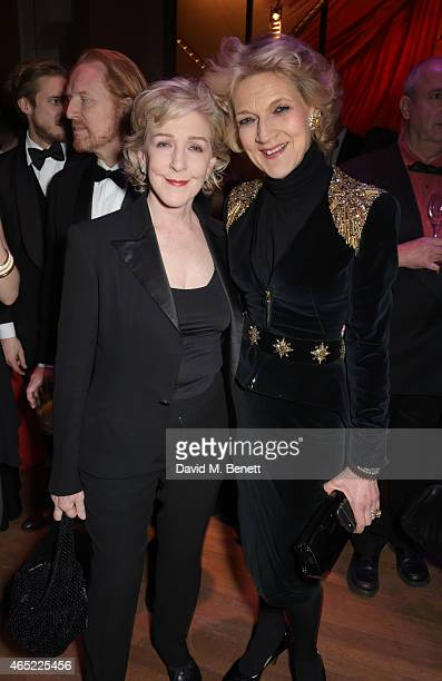 Patricia Hodge and Fiona Shackleton attend Fast Forward The National Theatre's fundraising gala at The National Theatre on March 4 2015 in London...