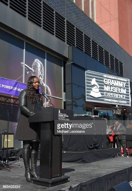 Patricia Houston addresses the audience during the Grammy Museum Experience Prudential Center RibbonCutting Ceremony at Prudential Center on October...