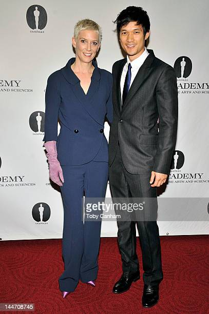 Patricia Kelly and Harry Shum Jr attend the centennial tribute to Gene Kelly at AMPAS Samuel Goldwyn Theater on May 17 2012 in Beverly Hills...