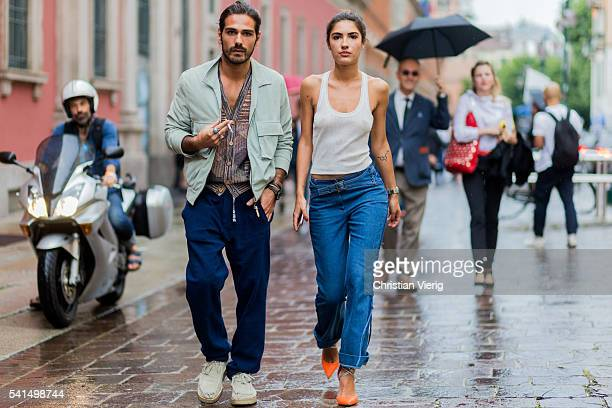 Patricia Manfield and Giotto Calendoli outside Missoni during the Milan Men's Fashion Week Spring/Summer 2017 on June 19 2016 in Milan Italy