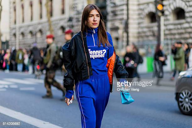 Patricia Manfield is wearing a blue sweat suit and black bomber jacket outside Hermes during the Paris Fashion Week Womenswear Fall/Winter 2016/2017...