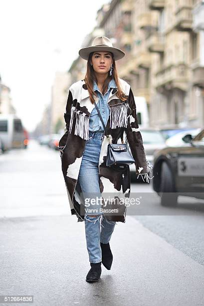 Patricia Manfield poses wearing a Phlosophy coat before the Antonio Marras show during the Milan Fashion Week Fall/Winter 2016/17 on February 27 2016...