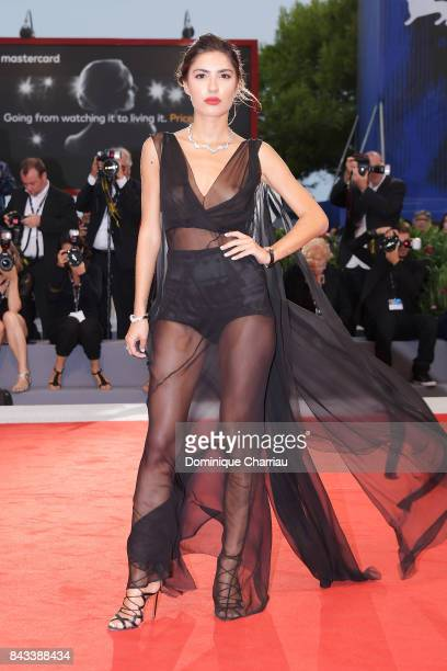Patricia Manfield walks the red carpet ahead of the 'Ammore E Malavita' screening during the 74th Venice Film Festival at Sala Grande on September 6...