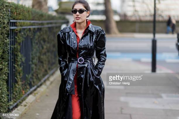 Patricia Manfield wearing a vinyl coat tracksuit outside Christopher Kane on day 4 of the London Fashion Week February 2017 collections on February...
