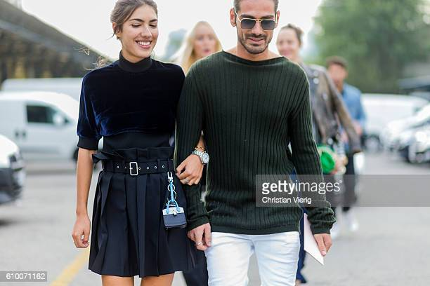 Patricia Manfield wearing velvet and Giotto Calendoli wearing a green jumper outside Diesel during Milan Fashion Week Spring/Summer 2017 on September...
