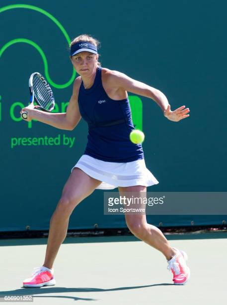 Patricia Maria Tig in action during the Miami Open on March 22 at the Tennis Center at Crandon Park in Key Biscayne FL