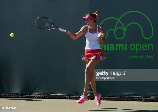 Patricia Maria Tig in action during the second day of the qualifying round of the 2017 Miami Open on March 21 at Tennis Center at Crandon Park in Key...