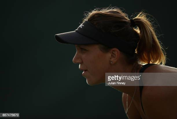 Patricia Maria Tig of Romania waits to return against Kristina Mladenovic of France at Crandon Park Tennis Center on March 24 2017 in Key Biscayne...