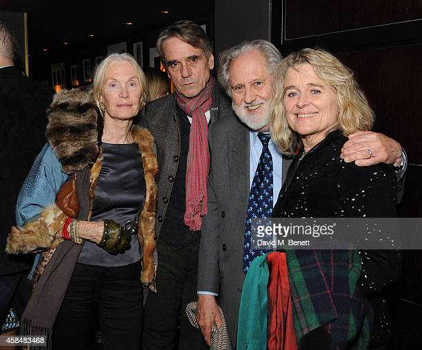 Patricia Mary Jones Jeremy Irons David Puttnam and Sinead Cusack attends as Marianne Faithful performs at Quaglino's on November 5 2014 in London...