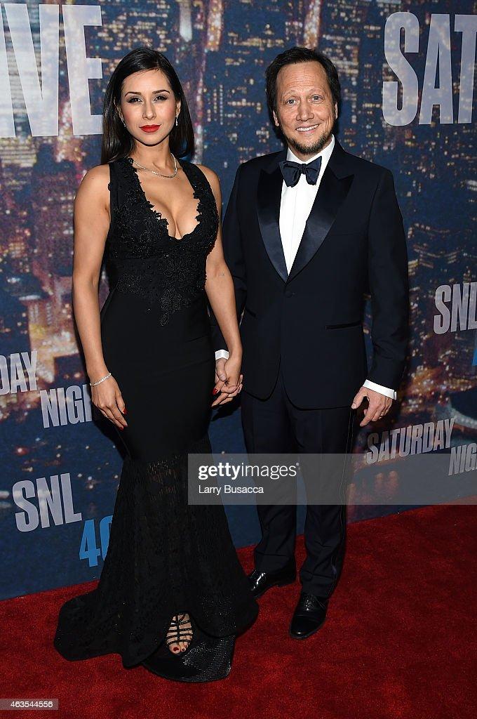 Patricia Maya Schneider (L) and Rob Schneider attend SNL 40th Anniversary Celebration at Rockefeller Plaza on February 15, 2015 in New York City.