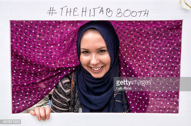 Patricia McCarry poses in a Hijab booth on National Mosque open day at the Werribee Islamic Centre in the suburb of Hoppers Crossing on October 25...