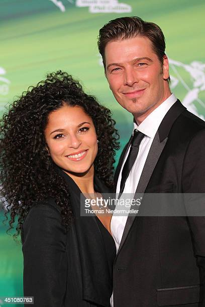 Patricia Meeden and Jan Ammann attend the green carpet arrivals for the Stuttgart Premiere of the musical 'Tarzan' at Stage Apollo Theater on...