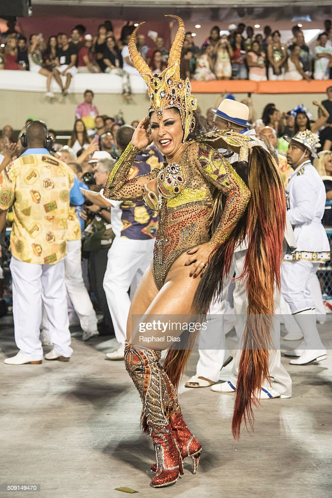 Patricia Nery attends to the Rio Carnival in Sambodromo on February 8, 2016 in Rio de Janeiro, Brazil. Despite the Zika virus epidemic, thousands of tourists gathered in Rio de Janeiro for the carnival.